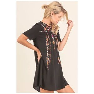 Dresses & Skirts - A Line Tee Dress with Floral Embroidery Details